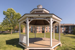 Exterior shot of the gazebo near apartment homes at Seasons of Bel Air in MD.